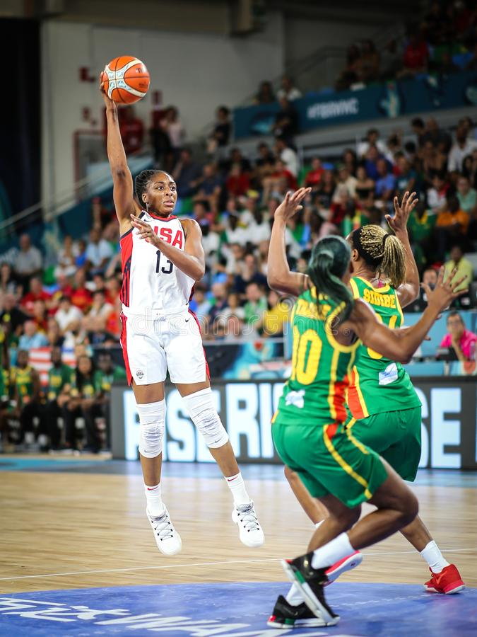Nneka Ogwumike in action during basketball match USA vs SENEGAL stock photos