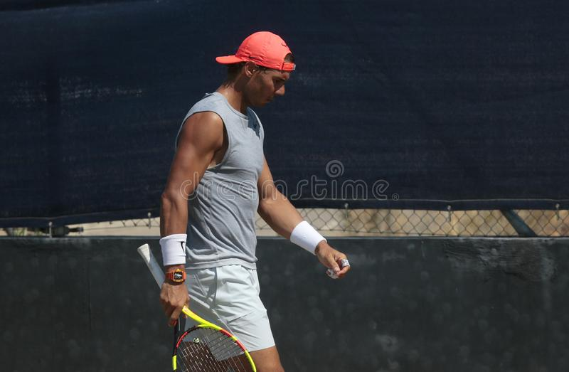 Rafa nadal gestures during a training session in santa ponsa mallorca. Spain tennis player Rafa Nadal gestures during a training session in grass court to stock image