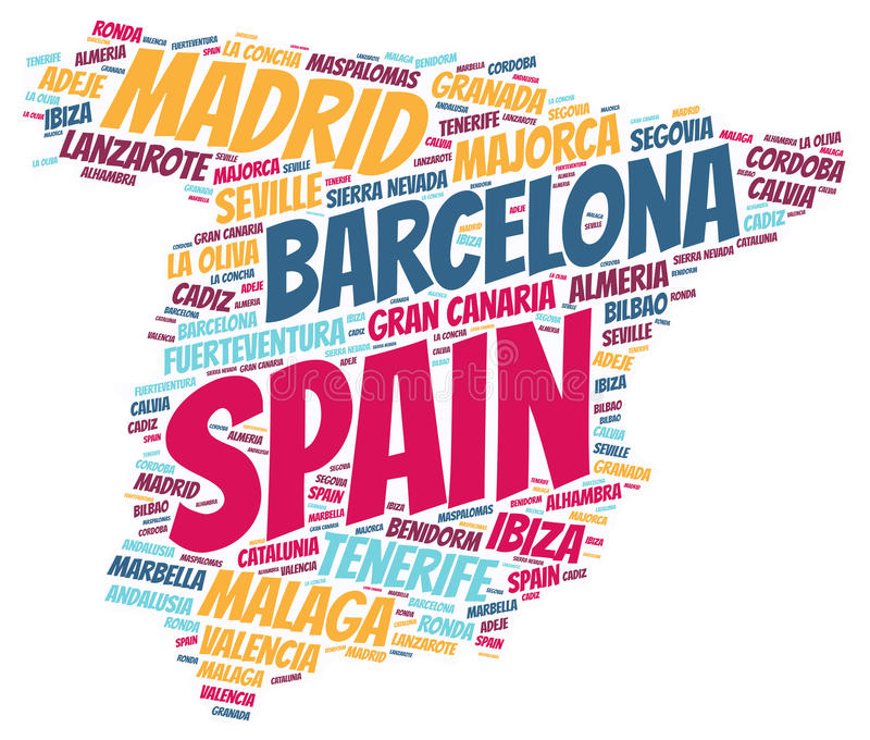 Spain top travel destinations word cloud. Spain map silhouette word cloud with most popular travel destinations royalty free illustration