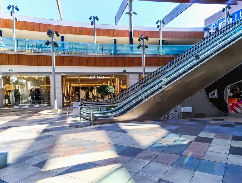 SPAIN-Torrevieja, Habaneras Shopping mall-MARCH 02, 2019: interior of commercial multi-brand center with Zara clothing store stock photography