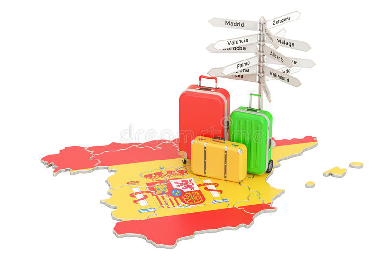 Spain travel concept. Spanish flag on map with suitcases and signpost, 3D rendering. Spain travel concept. Spanish flag on map with suitcases and signpost, 3D vector illustration