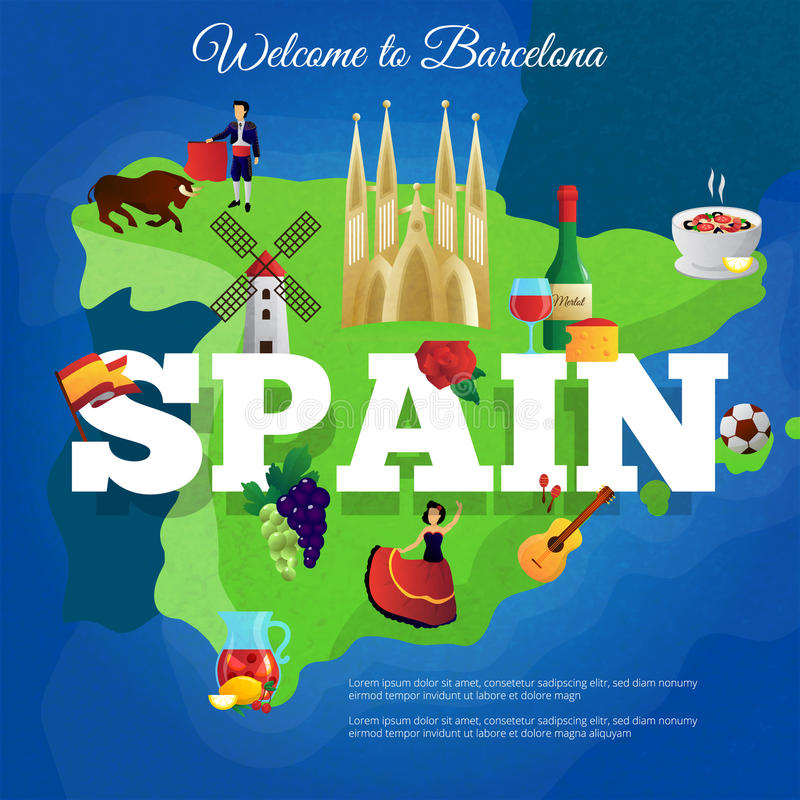 Spain Travel Flat Symbols Composition Poster Stock Vector
