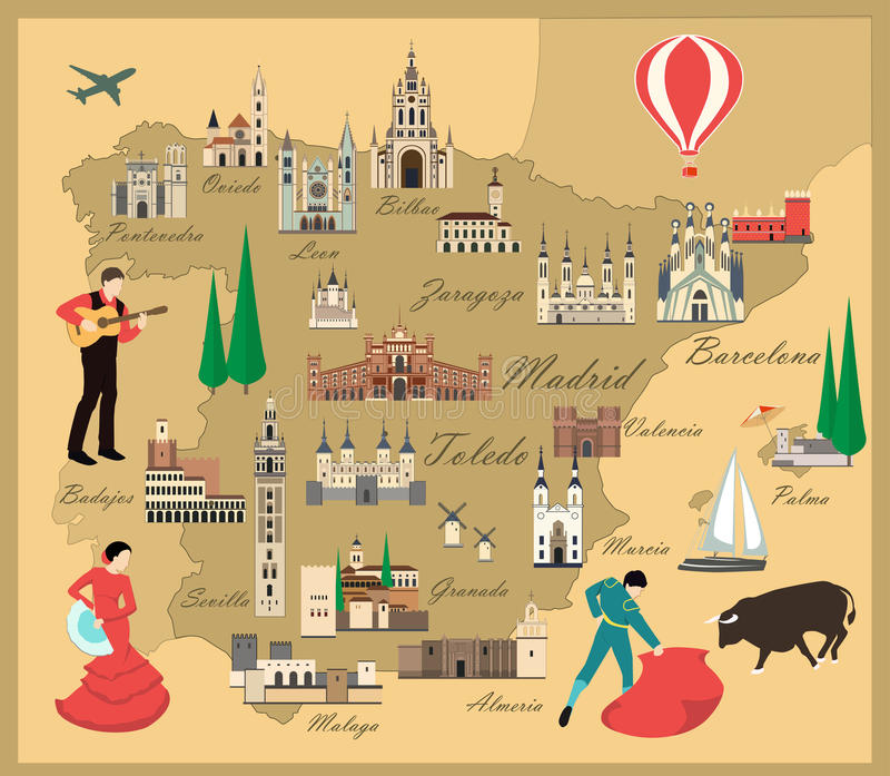Spain travel map with sights. Flat style vector illustration. Popular buildings for tourists. Spanish map. Tourism and travel vector illustration