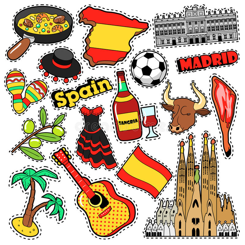 spain travel scrapbook stickers patches badges for