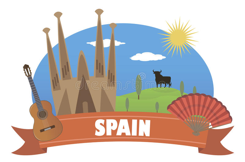 spain Turism och lopp stock illustrationer