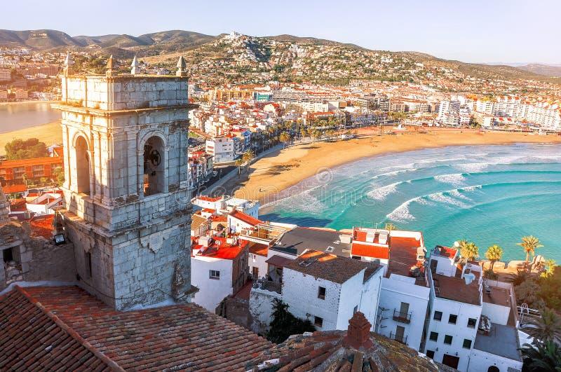 spain Valencia Peniscola Sikt av havet från en höjd av Po royaltyfri fotografi