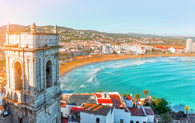 Spain. Valencia, Peniscola. View of the sea from a height of Po stock photography