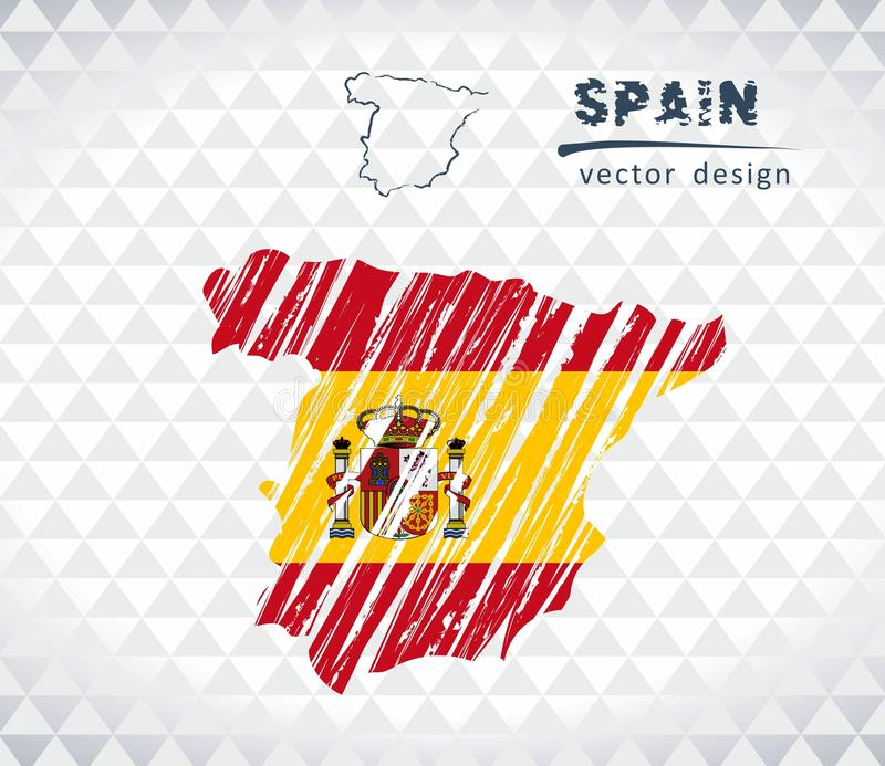Spain vector map with flag inside isolated on a white background. Sketch chalk hand drawn illustration. Vector sketch map of Spain with flag, hand drawn chalk royalty free illustration