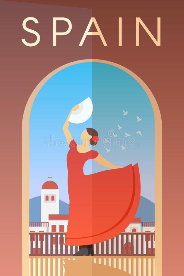 Spain. Vector poster. Vector retro poster. Spain. Flamenco dancer in red dress with fan in her hand. Flat design vector illustration