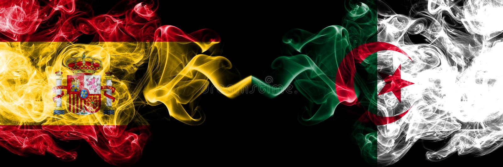 Spain vs Algeria, Algerian smoky mystic flags placed side by side. Thick colored silky smokes flag of Spanish and Algeria,. Algerian royalty free stock image