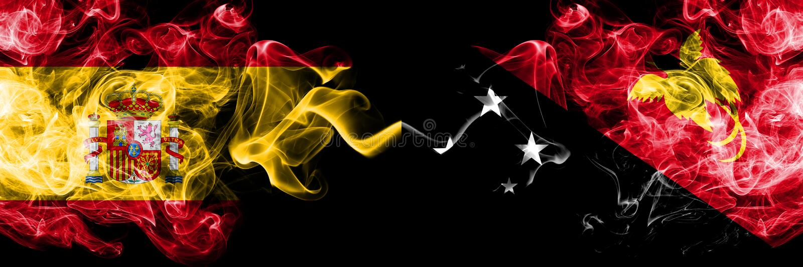 Spain vs Papua New Guinea smoky mystic flags placed side by side. Thick colored silky smokes flag of Spanish and Papua New Guinea. Spain vs Papua New Guinea royalty free stock photography