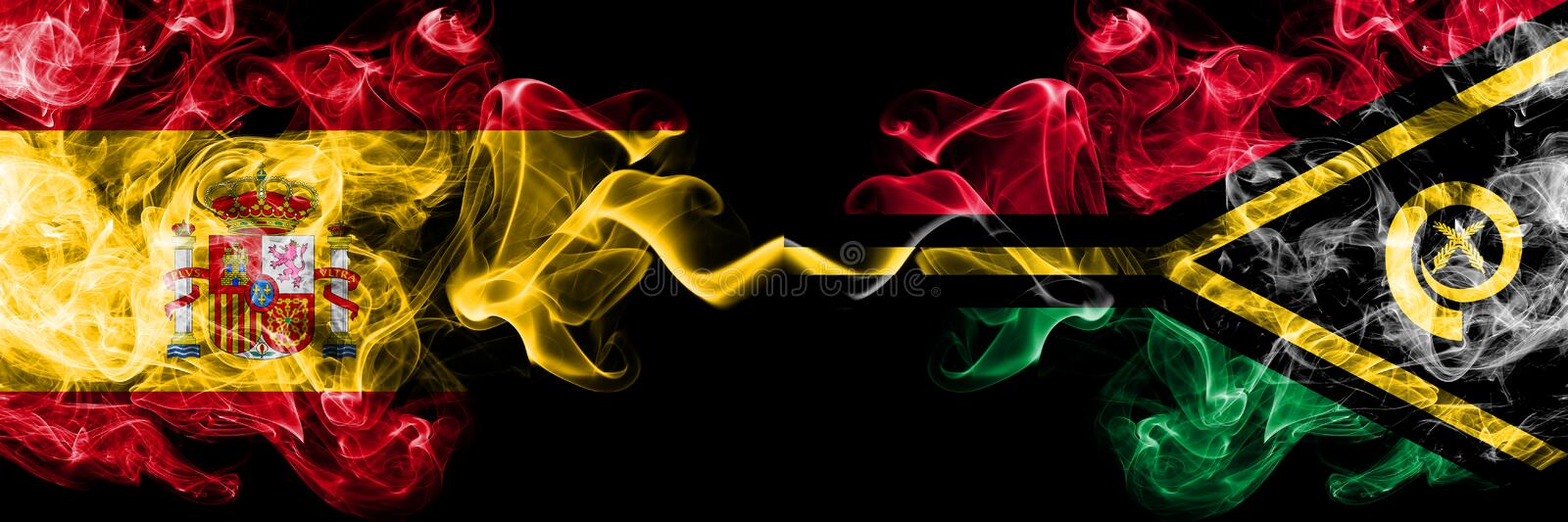 Spain vs Vanuatu smoky mystic flags placed side by side. Thick colored silky smokes flag of Spanish and Vanuatu. Spain vs Vanuatu smoky mystic flags placed side stock photography