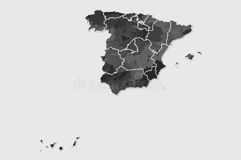 Spain watercolor map vector illustration of black color with border lines of different regions or divisions on light background. Using paint brush in page stock illustration