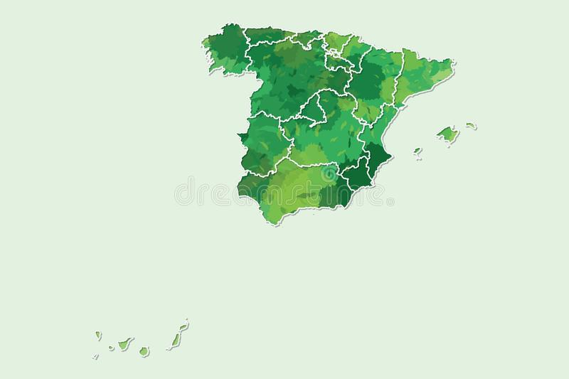 Spain watercolor map vector illustration of green color with border lines of different regions or divisions on light background. Using paint brush in page vector illustration