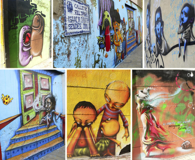 Spain. Zaragoza. El Tubo street. Collage of colored murals on Calle de Los Estebanes, stood the street called El Tubo (2006 vector illustration