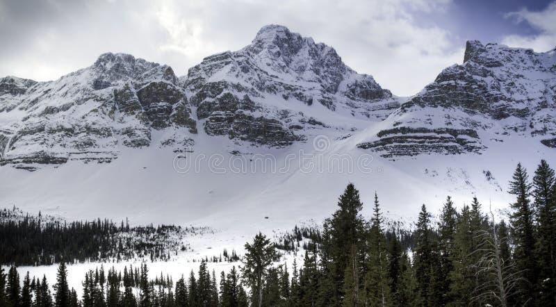 Spalla del ghiacciaio del ranuncolo nel lago bow in Banff Canada immagine stock libera da diritti
