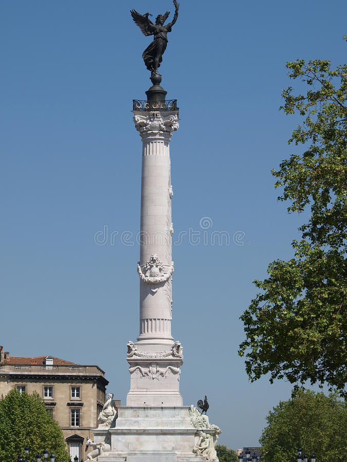 Spalte des Girondins Denkmals, Bordeaux-Frankreich lizenzfreie stockbilder