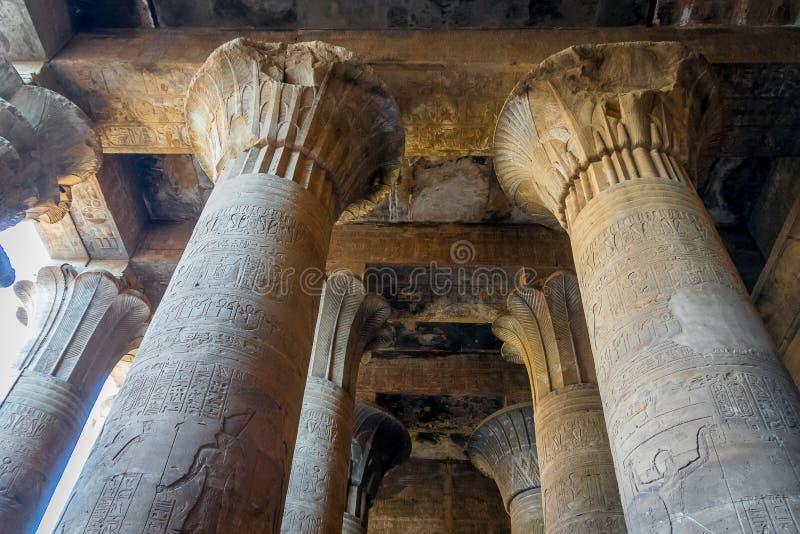 Spalten im Tempel von Edfu Egypt lizenzfreies stockbild