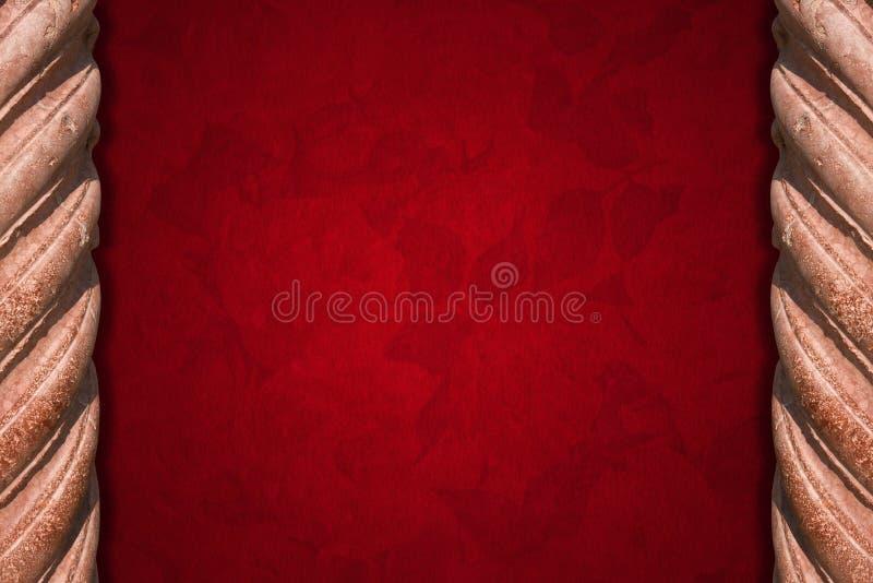 Spalten und roter Samt-Hintergrund vektor abbildung