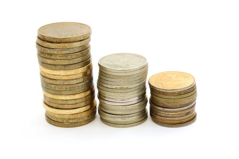 Spalten von russischen Münzen stockfotografie