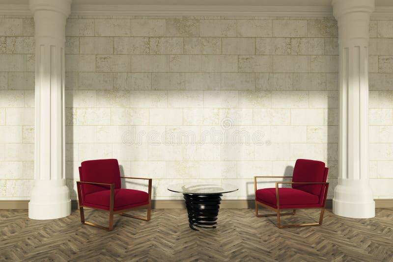 Spaltenwohnzimmer, rote Lehnsessel lizenzfreie abbildung