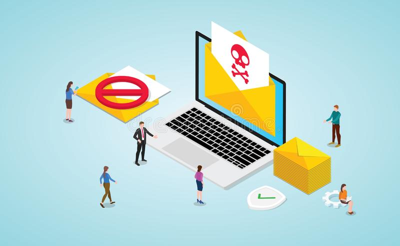 Spam concept with newsletter and skull and danger icon symbol on laptop with team people and isometric modern flat -  royalty free illustration