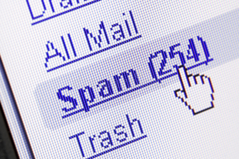 Spam dans la boîte aux lettres image libre de droits