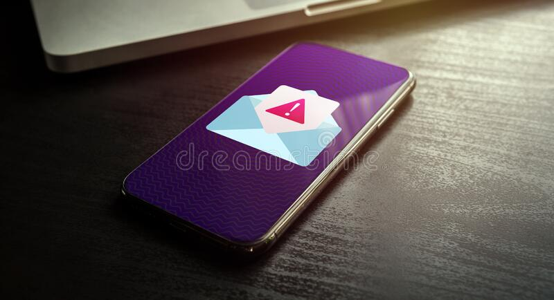 Spam Distribution or Malware Spreading Virus - smartphone with mail notification with alert and warning message icon royalty free stock photos