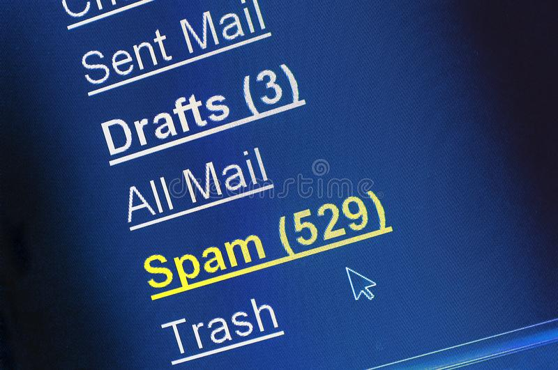 Spam e-mail box on computer screen royalty free stock photography