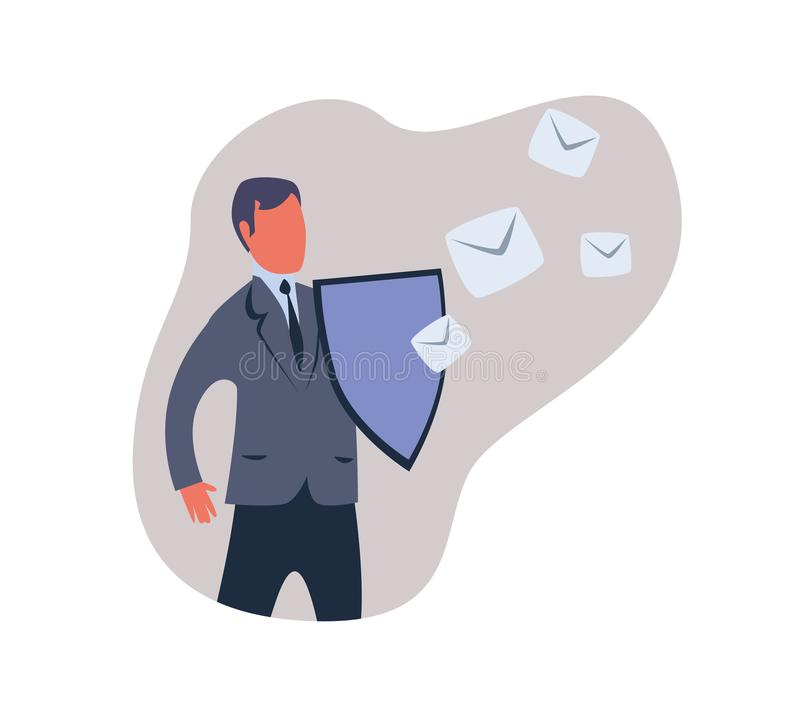 Spam filter, male shield off unwanted advertising messages. Concept vector illustration, isolated on white background. Spam filter, male shield off unwanted vector illustration
