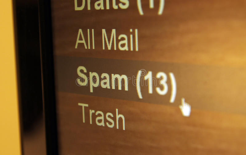 Spam folder stock image