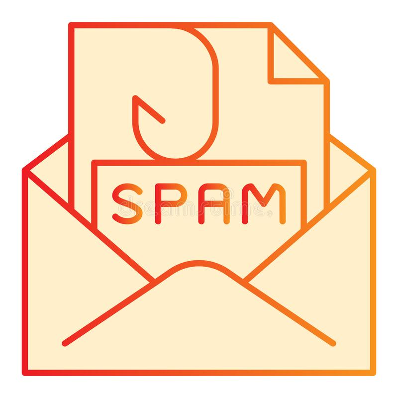 Spam mail flat icon. Spam letter in envelope orange icons in trendy flat style. Message with hook gradient style design royalty free illustration