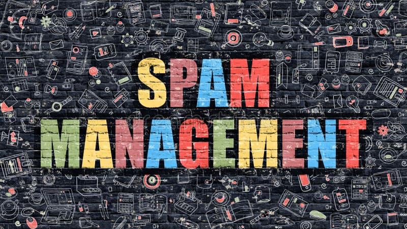 Spam-Management-Konzept Mehrfarben auf dunklem Brickwall lizenzfreie abbildung