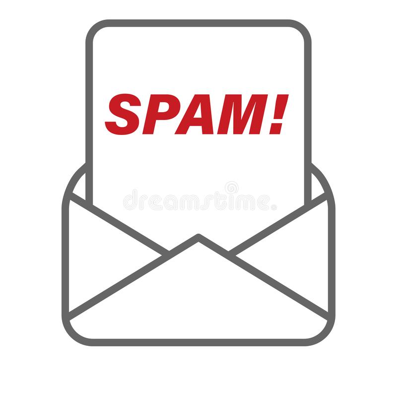 Spam message received from mail envelope vector royalty free illustration