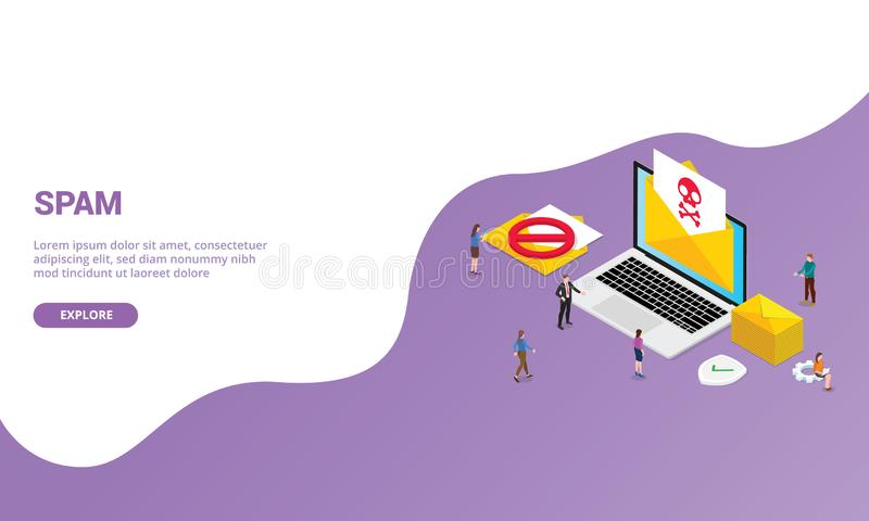 Spam newsletter email concept for website template or landing homepage with isometric modern style - vector. Illustration stock illustration