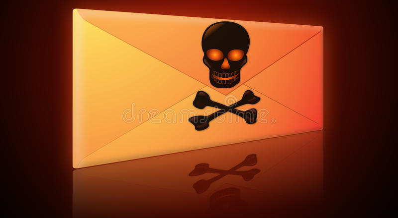 Spam, Virus, Phishing eMail-Umschlag stockfotos
