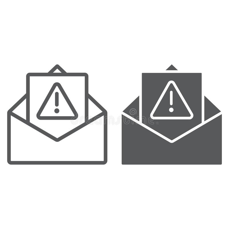 Spam warning line and glyph icon, letter and email, alert mail sign, vector graphics, a linear pattern on a white. Background, eps 10 stock illustration