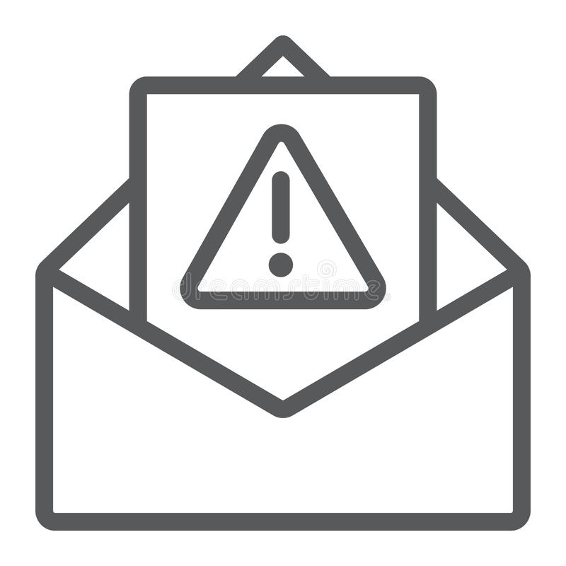 Spam warning line icon, letter and email, alert mail sign, vector graphics, a linear pattern on a white background. Spam warning line icon, letter and email stock illustration