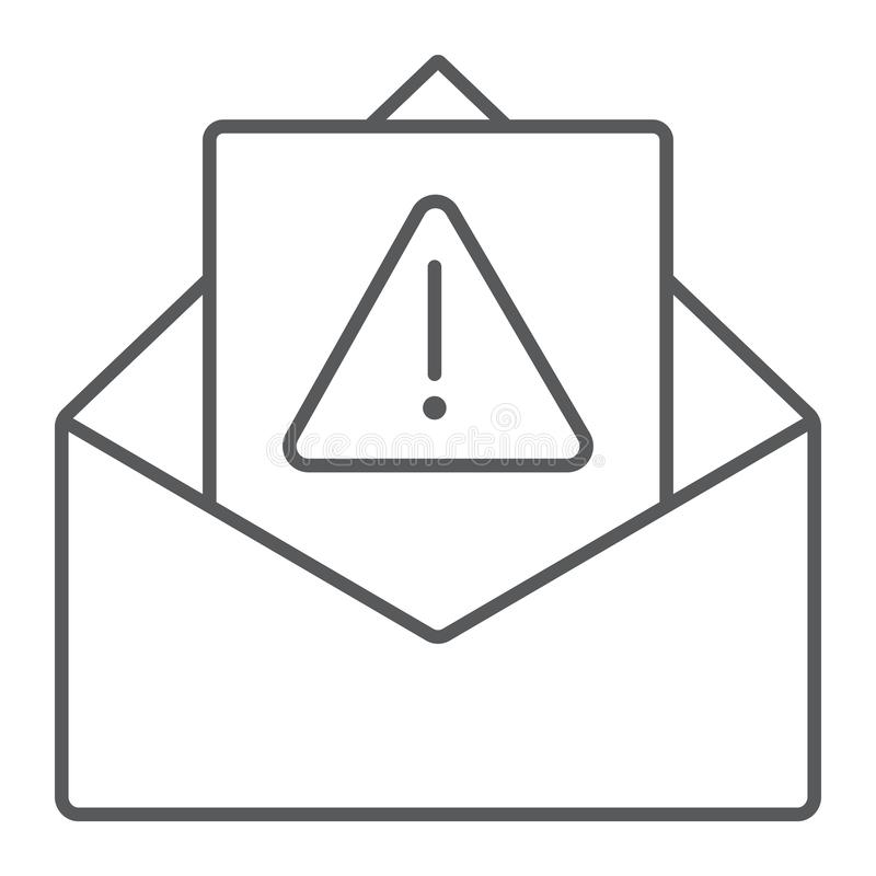 Spam warning thin line icon, letter and email, alert mail sign, vector graphics, a linear pattern on a white background. Spam warning thin line icon, letter and stock illustration