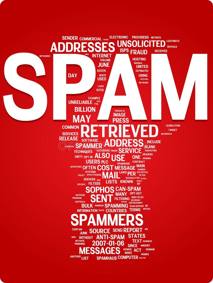 Spam word cloud illustration. Graphic tag collection vector illustration