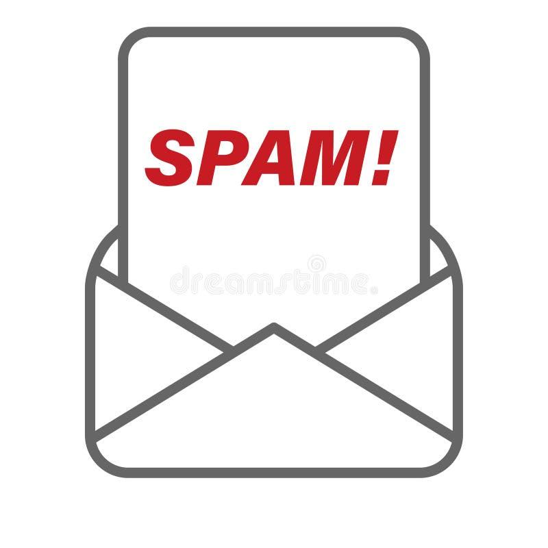 Spambericht dat van de vector van de postenvelop wordt ontvangen royalty-vrije illustratie