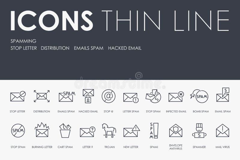 SPAMMING la ligne mince icônes illustration stock