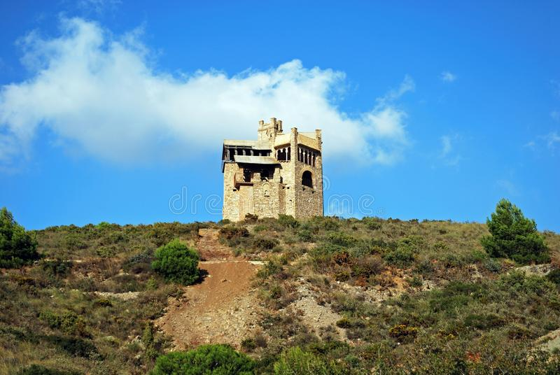 Folly on the hillside, Alhaurin El Grande. Folly in the countryside originally built as a water tower, Alhaurin El Grande, Costa del Sol, Andalusia, Spain royalty free stock photography