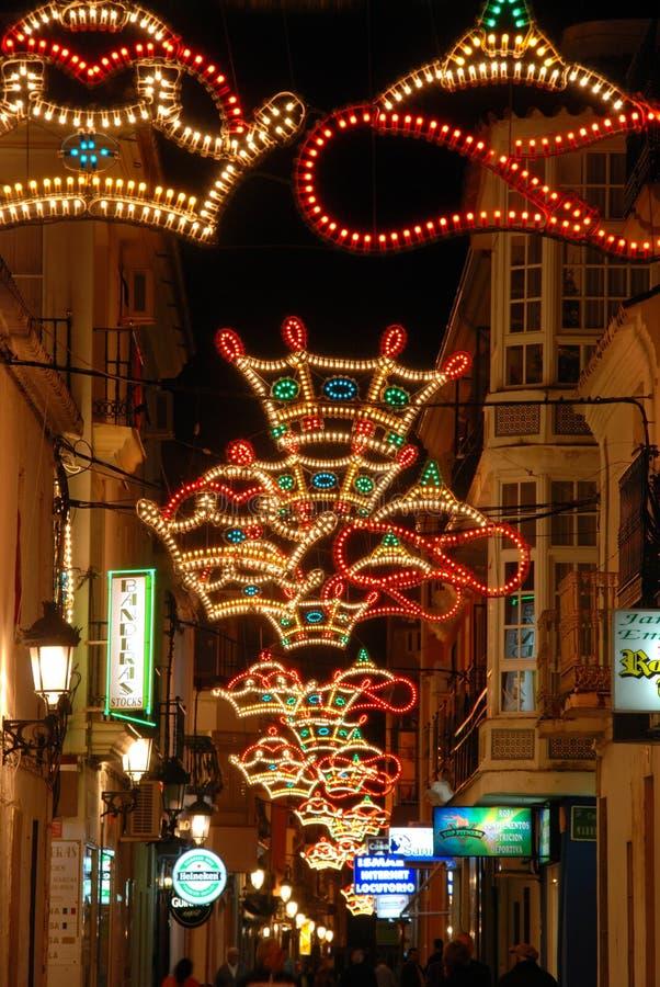 Shopping street at Christmas, Fuengirola, Spain. stock images