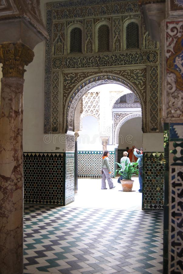 Pedro the Cruel Palace at the Castle of the Kings, Seville, Spain. Rooms inside Palace of Pedro the Cruel in the Castle of the Kings, Seville, Seville Province royalty free stock images