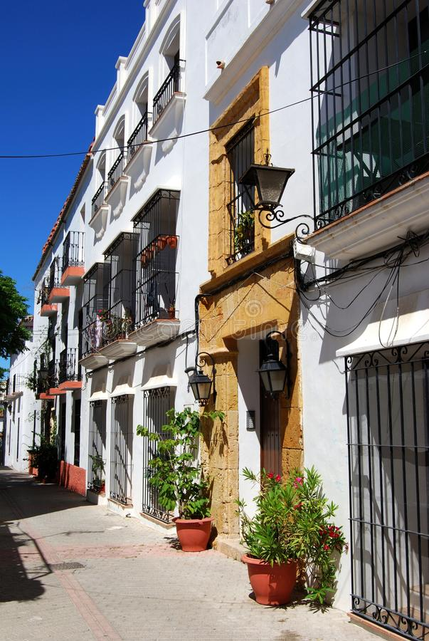 Spanish buildings in the old town, Marbella, Spain. stock image