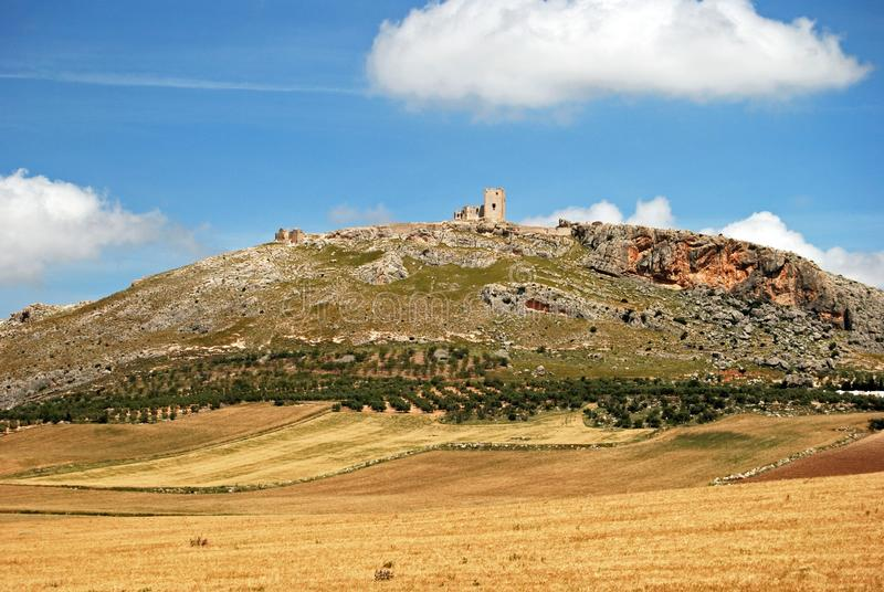 Wheat fields and castle, Teba, Spain. royalty free stock photo