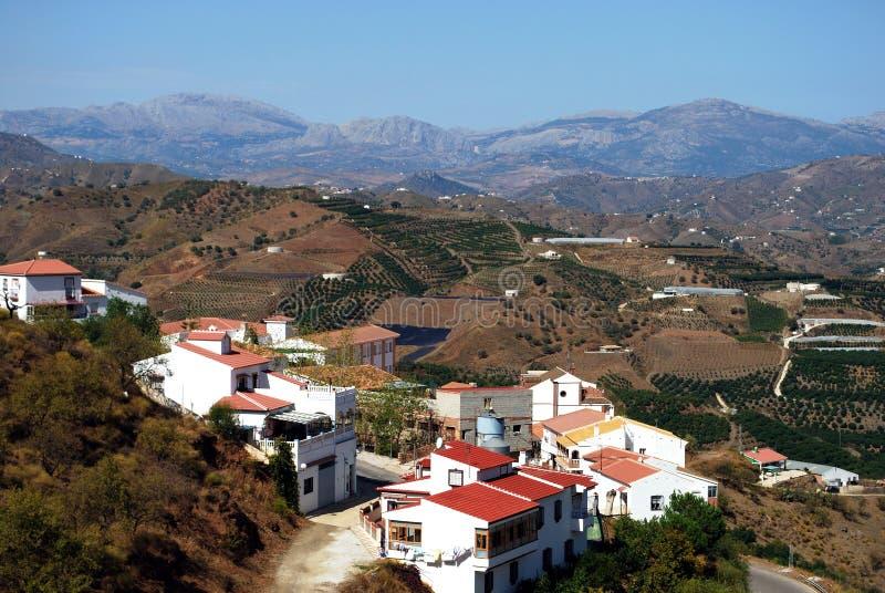 White village and mountains, Iznate, Spain. View of whitewashed village and surrounding countryside, Iznate, Malaga Province, Andalucia, Spain, Western Europe stock photography