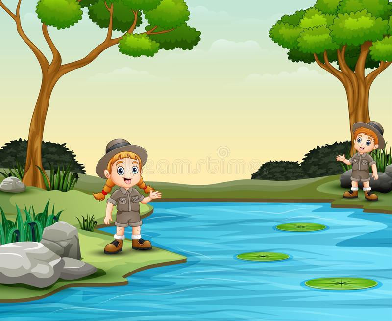 Spana pojken och flickan som talar vid floden stock illustrationer