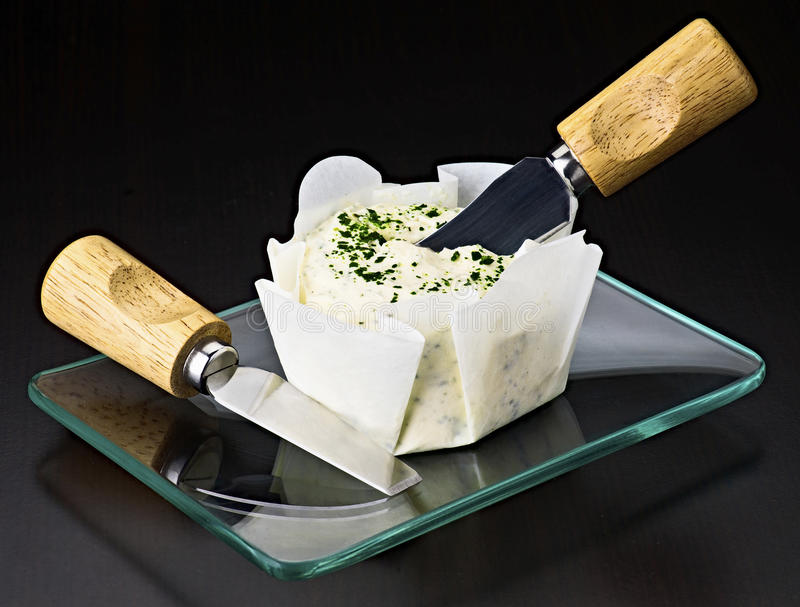Spanda il formaggio cremoso fotografia stock libera da diritti